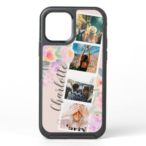 Modern 4 photos booth style floral watercolor OtterBox symmetry iPhone 12 case