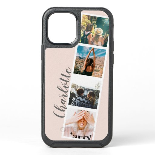 Modern 4 photos booth style name on blush pink OtterBox symmetry iPhone 12 case