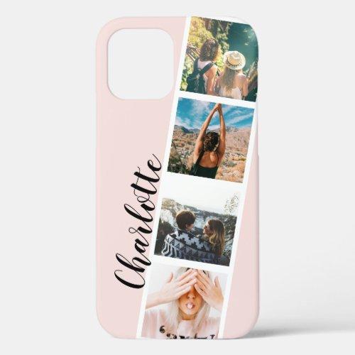Modern 4 photos grid collage name on blush pink Phone Case