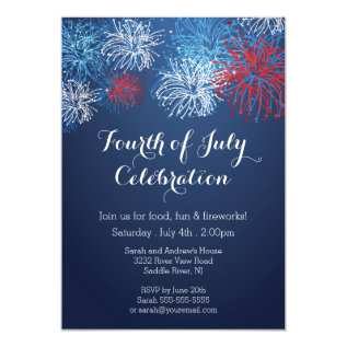 Modern 4th Of July Fireworks Barbecue  Invitation at Zazzle