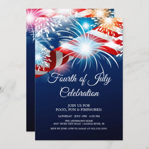 Modern 4th of July Fireworks Invitation