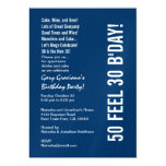 "Modern 50 New 30 Birthday Blue White Red Template 5"" X 7"" Invitation Card"