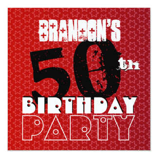 Modern 50th Birthday Party Red Stars W264 5.25x5.25 Square Paper Invitation Card