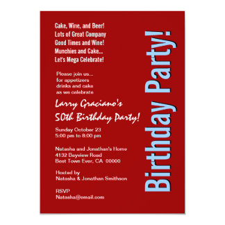 "Modern 50th Birthday Red White Blue Template 5"" X 7"" Invitation Card"