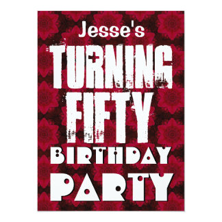 Modern 50th Birthday Turning Forty Red Stars 002 Card