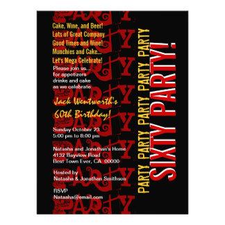 Modern 60th Birthday Red Gold Black Grunge LARGE Custom Invite