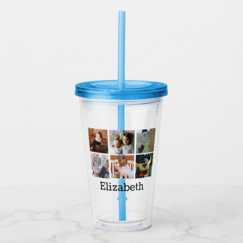 Modern 6 Family Photo Collage   Personalized Acrylic Tumbler
