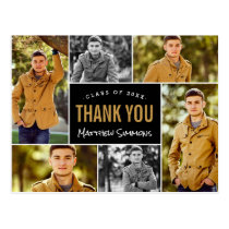 Modern 6 Photo Collage Graduation Thank You Postcard