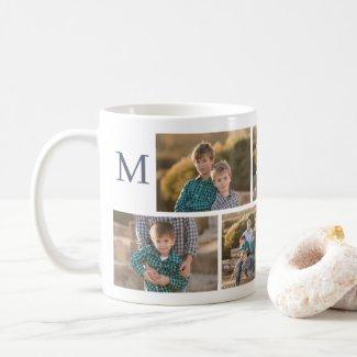 Modern 6 Photo Collage with Monogram Coffee Mug
