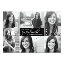 Modern 6 Photo Script Graduation Invite - Black