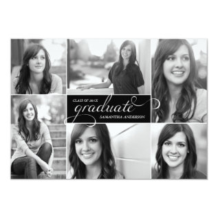 Modern 6 Photo Script Graduation Invite - Black at Zazzle