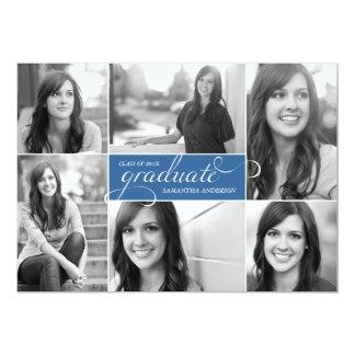Modern 6 Photo Script Graduation Invite - Blue