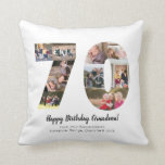 """Modern 70th Number Photo Collage Custom Greeting Throw Pillow<br><div class=""""desc"""">Display your favorite pictures into a number collage! Makes a perfect anniversary or birthday present for a loved one. Photography &#169; Storytree Studios,  Stanford,  CA</div>"""