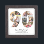 """Modern 90th Number Photo Collage Custom Greeting Gift Box<br><div class=""""desc"""">Modern 90th Number Photo Collage Custom Greeting Gift Box Customize it with your photos and greetings. If you would like to have different background color,  feel free to email me at panggadesigns@gmail.com</div>"""