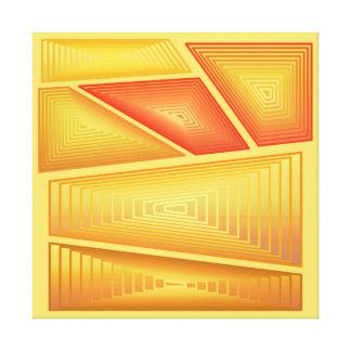Modern Abstract - 3-d Pyramids, Gold Canvas Print