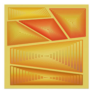 Modern Abstract - 3-d Pyramids, Gold Posters