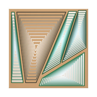 Modern Abstract - 3-d Pyramids, Taupe and Silver Canvas Print