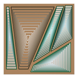 Modern Abstract - 3-d Pyramids, Taupe and Silver Poster