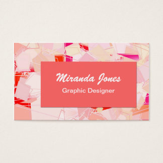 Modern Abstract Art Canvas - Coral, Buff and White Business Card