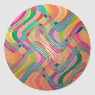 Modern Abstract Art Colorful Stained Glass Look Classic Round Sticker