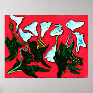 Modern Abstract Art Flowers Poster