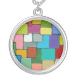 Modern abstract art fun colorful unique original personalized necklace