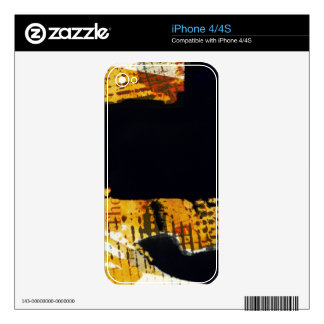 Modern Abstract Art Gold and Black Colorful Design Decals For The iPhone 4S