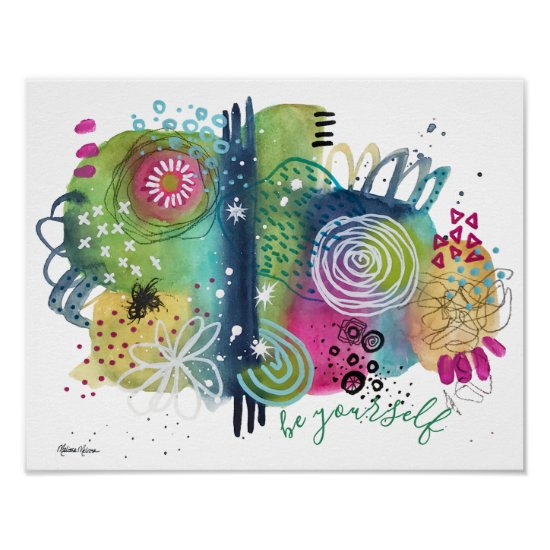 Modern Abstract Art Inspirational Quote Colorful Poster