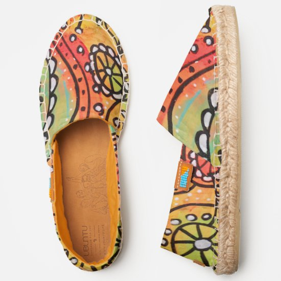 Modern Abstract Art Orange Lime Green Whimsical Espadrilles