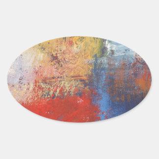 Modern Abstract Art Oval Sticker