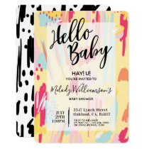 Modern Abstract Artistic Baby Shower Invitation