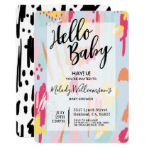 Modern Abstract & Artistic Baby Shower Invitation