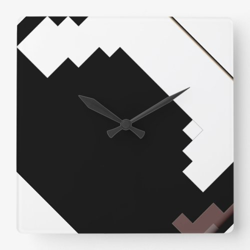 Modern Abstract Black and White Clock