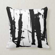 Modern Abstract Black and White Minimalist Pillow