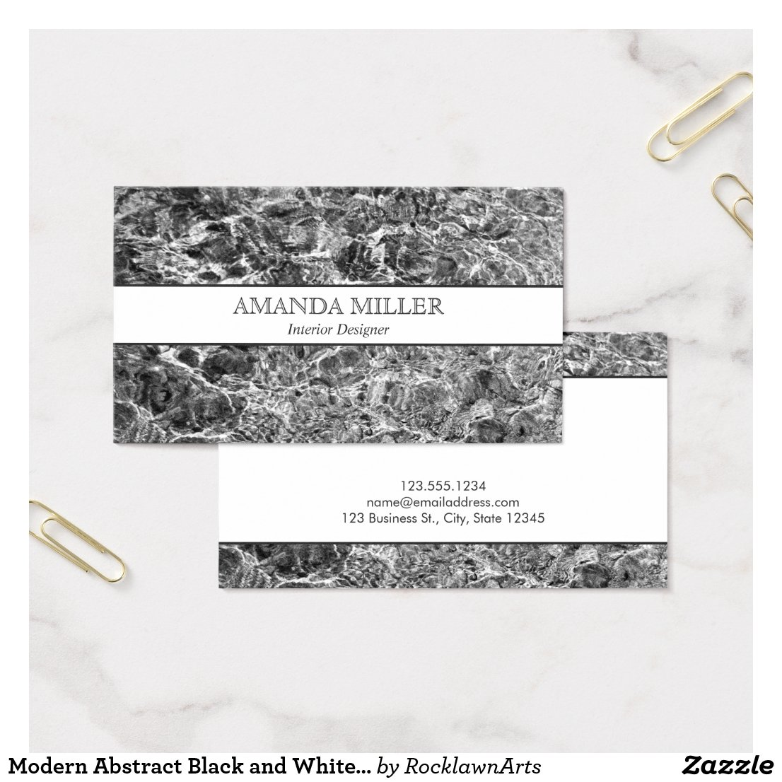 Modern Abstract Black and White Photo Faux Marble Business Card
