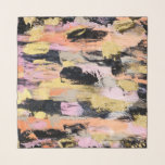 """Modern abstract black pink salmon gold brushstroke scarf<br><div class=""""desc"""">Modern abstract black pink salmon gold hand painted acrylic brushstrokes paint by Girly Trend</div>"""