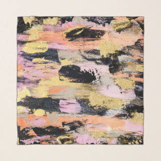 Modern abstract black pink salmon gold brushstroke scarf