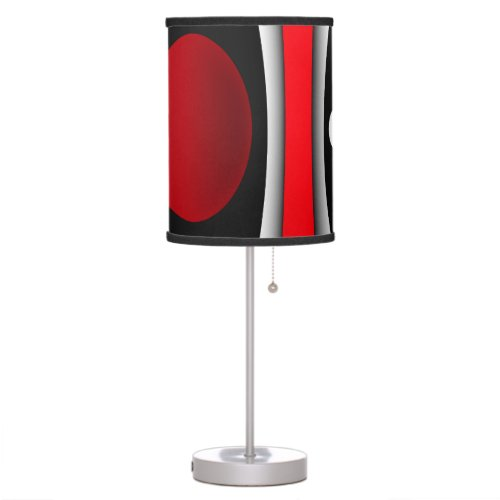 Modern abstract black, red, white table lamp