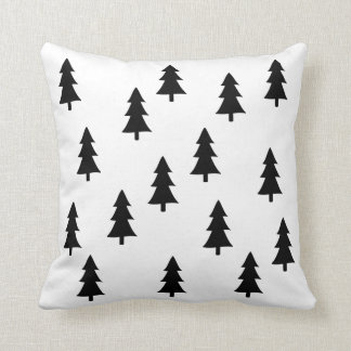 Modern abstract black trees Scandinavian style Throw Pillow