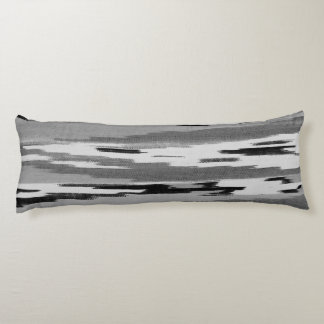 Modern abstract black white ikat pattern body pillow