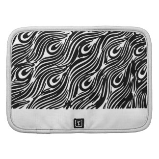 Modern abstract black white peacock feathers planners