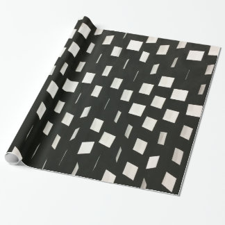 Modern abstract black white squares pattern wrapping paper
