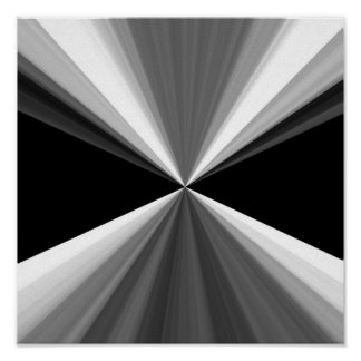 Modern abstract black white triangles pattern poster