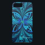 "Modern Abstract Blue Green Fractal iPhone 8/7 Case<br><div class=""desc"">Customized iPhone 8/7 Case:  Abstract Psychedelic Blue and Green Fractal Pattern</div>"