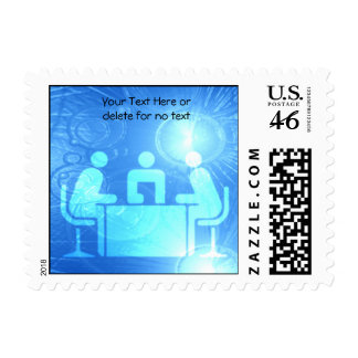 Modern Abstract Blue Office Postage Stamp