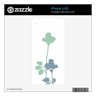 Modern Abstract Blue Rose Skin For iPhone 4S
