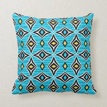 Aztec Themed Modern abstract blue yellow diamond gemstones throw pillow