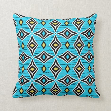 Modern abstract blue yellow diamond gemstones throw pillow