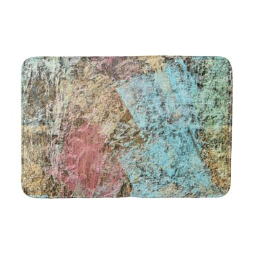 Beach Themed Modern Abstract Brush Strokes Pattern Bathroom Mat