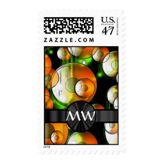 Modern abstract bubbles pattern postage